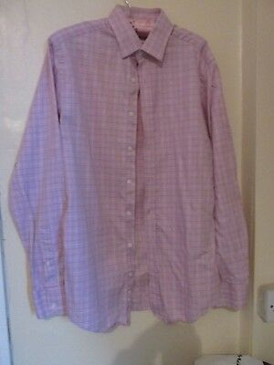 Slim Fit Sales Of Quality Assurance Strong-Willed Hawes And Curtis Mens Long Sl Pink Check Shirt100% Cotton 15 1/2