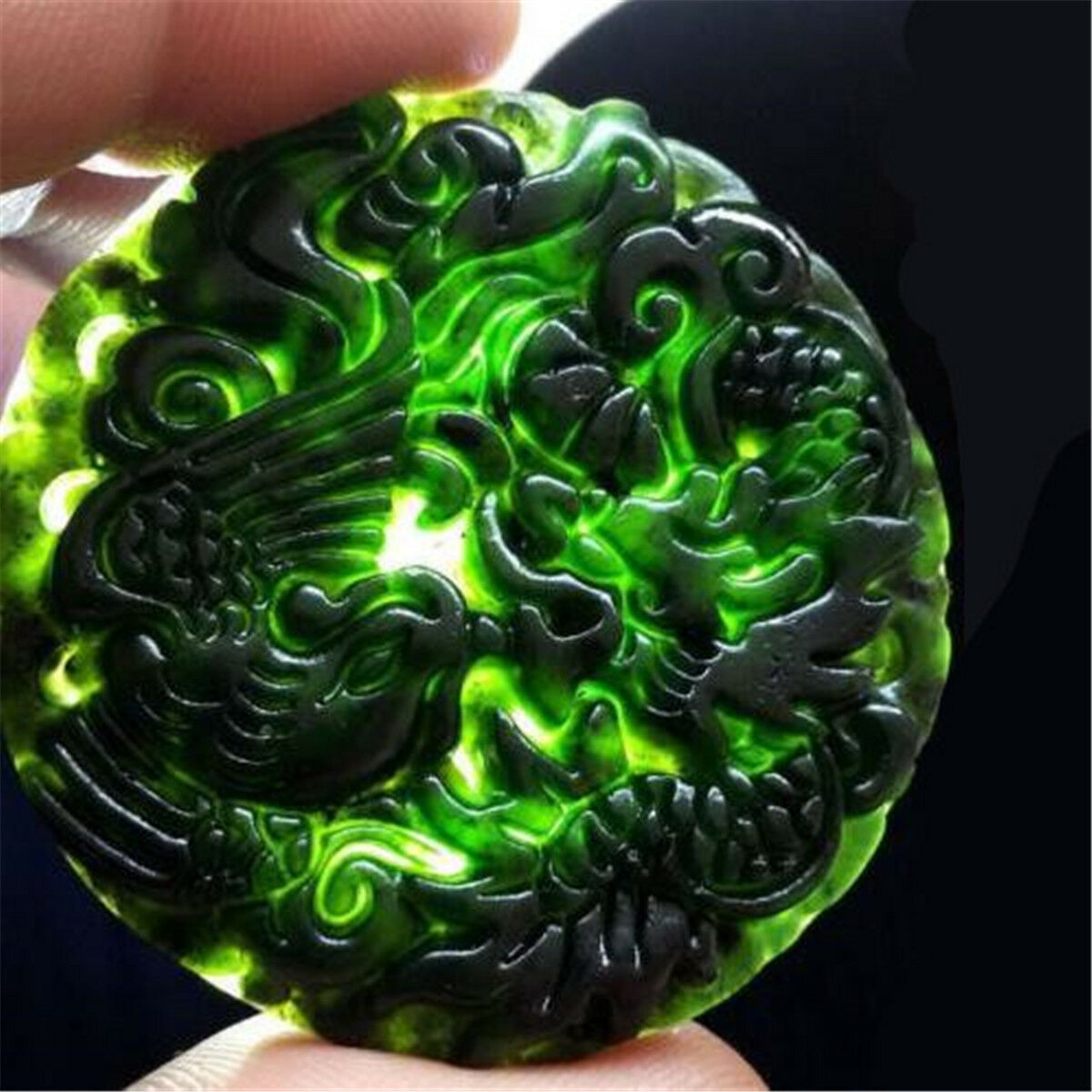 Chinese Natural Black Green Dark Jade Pendant Dragon/&Phoenix Good Lucky Amulet