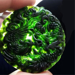 Chinese-Natural-Black-Green-Jade-Pendant-Dragon-amp-Phoenix-Good-Lucky-Amulet-Gift