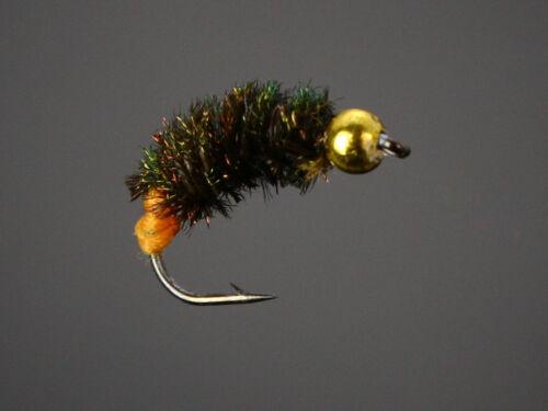 40Pcs Caddis Pupa Larva Midge Buzzers BeadHead Nymphs Flies Trout Fly H011