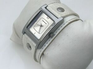 Vestal Women Watch White Genuine Leather Wide Band Analog Ladies Wrist Watch