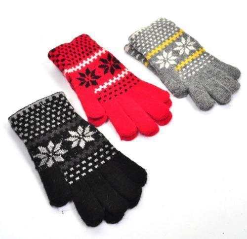 RETRO VTG Stil Schneeflocken Handschuhe Rot Schwarz Grau NEU mit Etikett