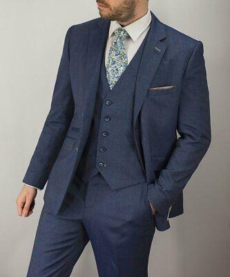 100% QualitäT Mens Wedding Blue 3 Piece Suit Blazer Waistcoat Trousers Short Regular Long Slim