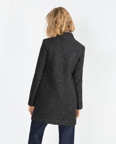Cappotto di grigio L di lana lana di Taglia lana M Cappotto Cappotto Zara qrIrwA