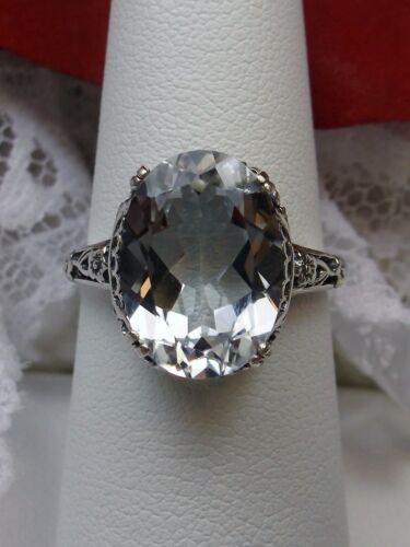 Natural White Topaz Sterling Silver Edwardian Filigree Ring Size {Made To Order}