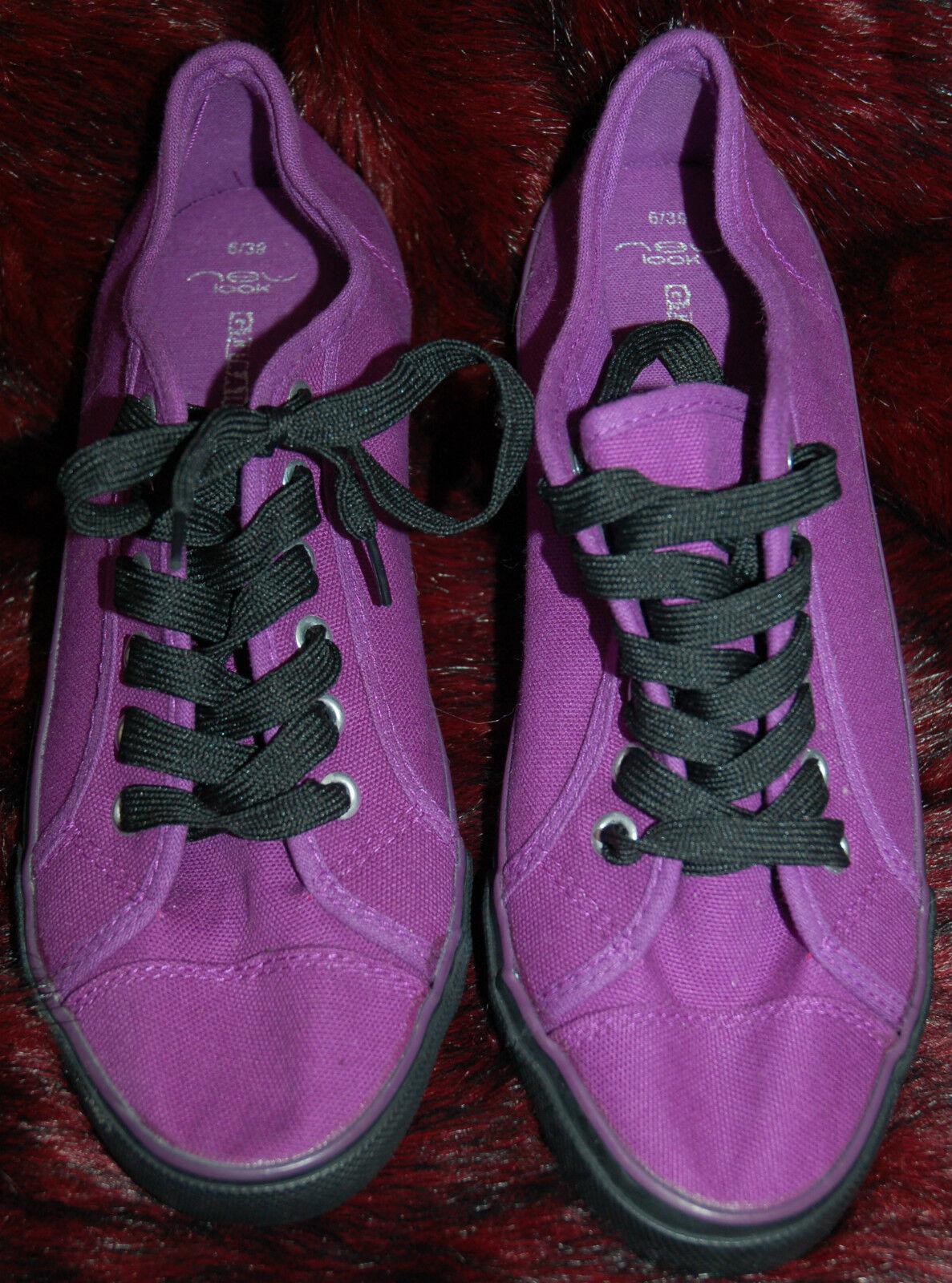 Nouveau SZ 6 Bold Berry Violet Toile Plates Plates Plates Noires à Lacets Pont Chaussures Escarpins 07d63d