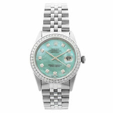 Rolex Datejust Steel 1.20 Cttw Custom Teal Dial Mens 1983 Watch 16014