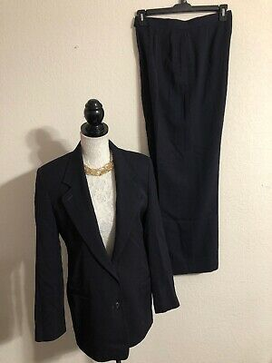 Austin Reed Womens Navy Blue Worsted Wool Suit Blazer Jacket Pants Sz 10 Ebay