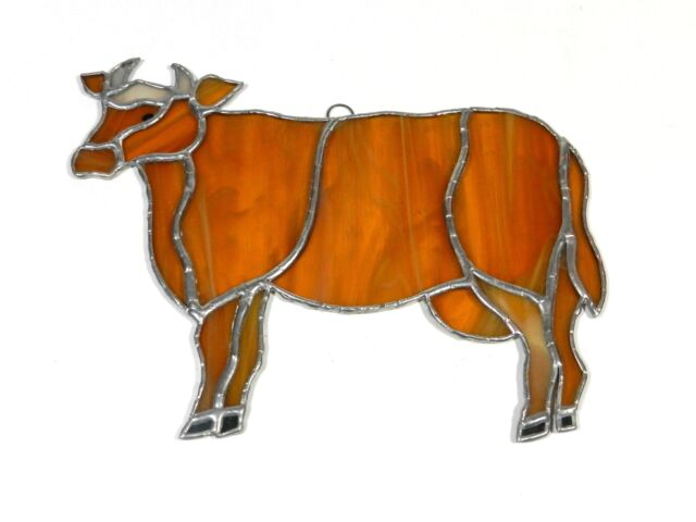Stained Glass Sun Catcher Cow Steer Vintage