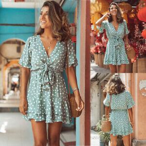 Women-039-s-Summer-Polka-Dot-V-Neck-Mini-Dress-Ladies-Boho-Holiday-Beach-Sundress