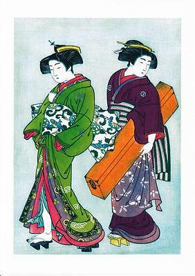 GEISHAS SET OF 2  REPRODUCTION WOODBLOCK PRINTS BELIEVED  BY KITAO SHIGEHASA