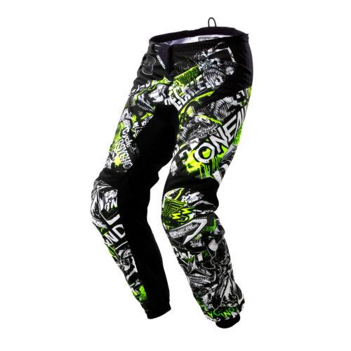 O /'Neal elemento Attack MX DH MTB Pant Pantaloni Lunghi Nero//Bianco//Giallo 2020 ONEAL