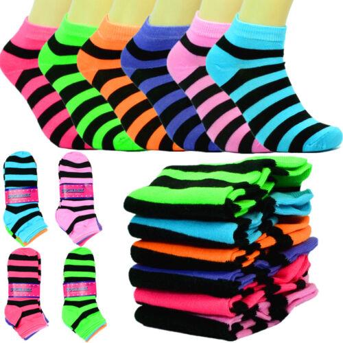 6-12 Pairs Fashion Cotton Women Ankle Low Cut School Casual Socks 9-11 b stripe