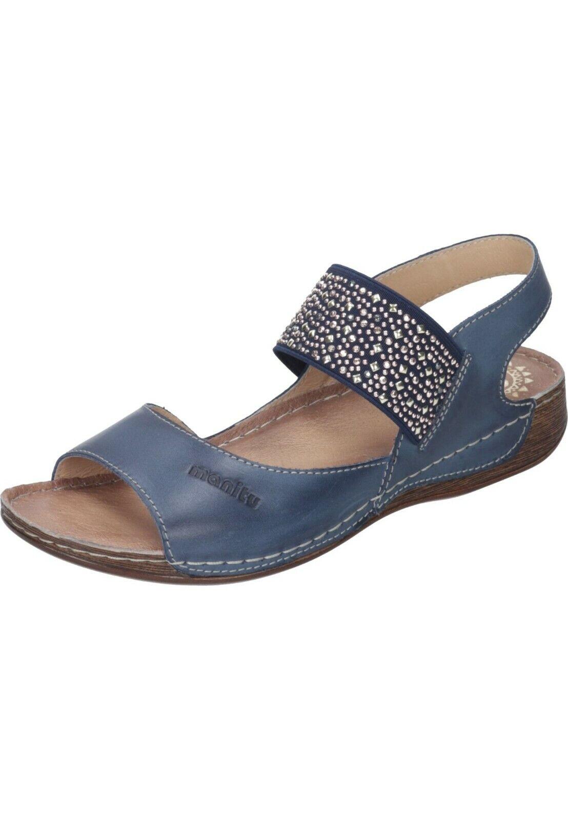 Manitu Sandals Sandals Leather Womens shoes bluee 36 - 41 910847 -5 Neu6