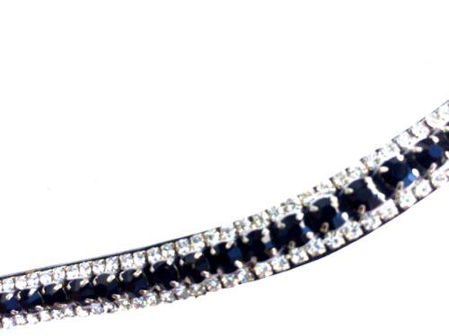 Stirnriemen Stirnband für Trensen schwarze geschliffene Kristalle geschwungen