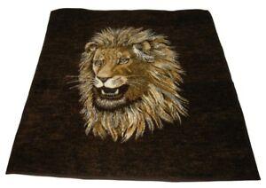 Biederlack-Lion-Head-Fleece-Throw-Blanket-Reversible-55-x-54-USA