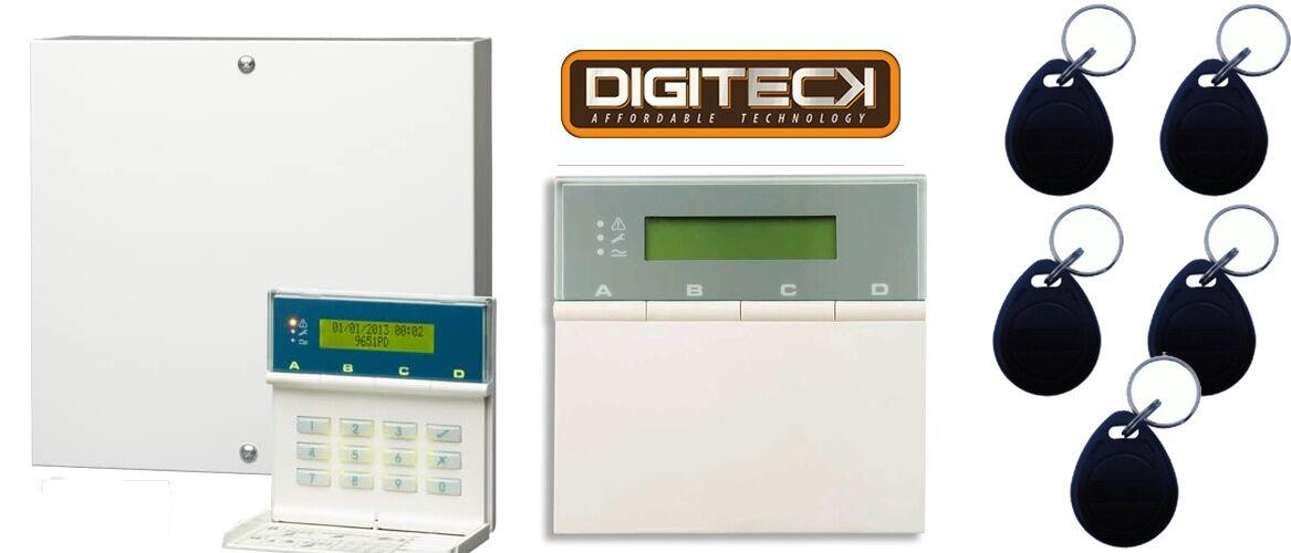Scantronic 9651EN43 Panel De Alarma Con Teclado Remoto + 5 Dijes etiquetas de proximidad