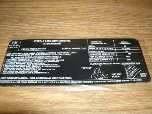 1971 PONTIAC GTO JUDGE FIREBIRD TRANS-AM FORMULA 455 HO EMISSIONS DECAL 4SP TRAN