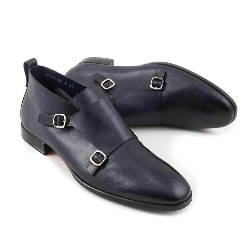 Nuevo En Caja  Santoni fatte a mano correa de monje Azul Marino botas al Tobillo Zapatos US 13