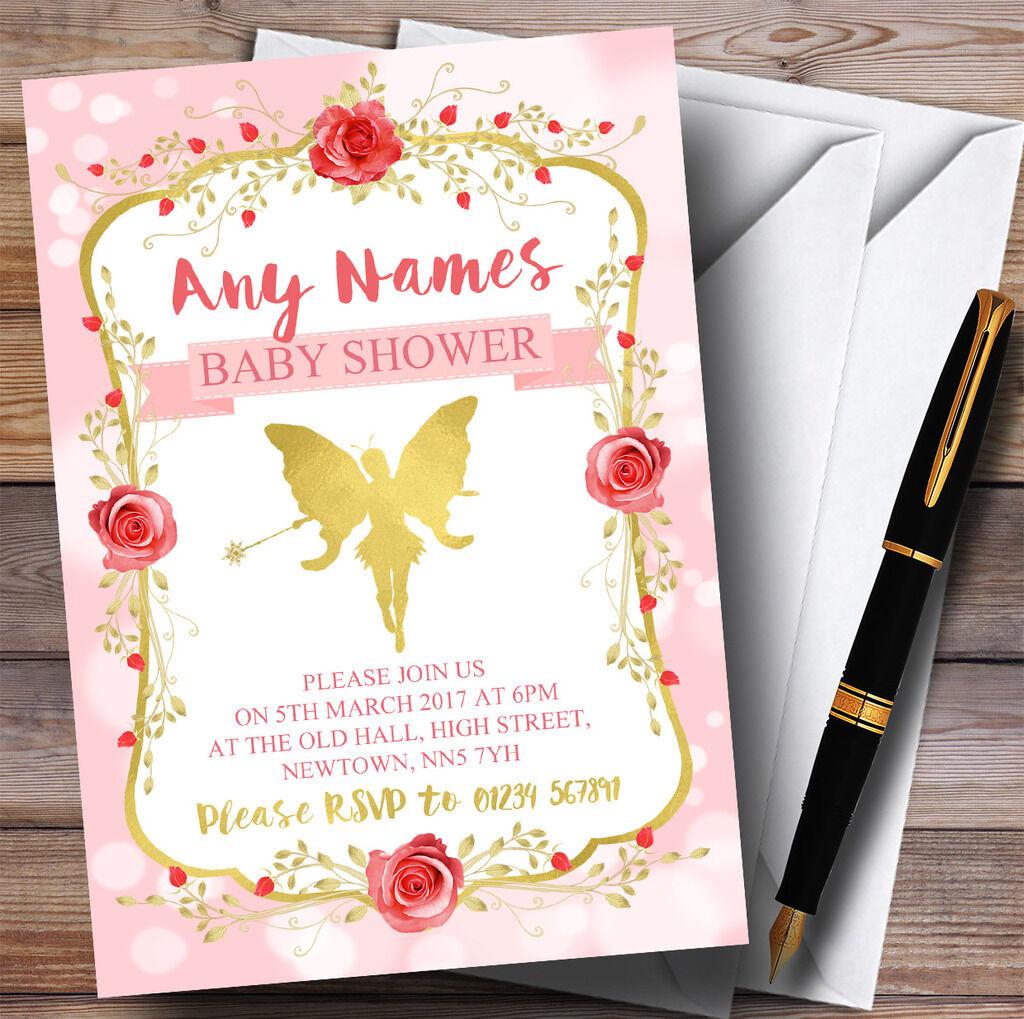 Rosa Tinkerbell Pixie Fairy Invitations Invitations Invitations Baby Shower Invitations 0e757b