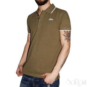 Polo-Uomo-GURU-Sport-Cotone-Maniche-Corte-Colletto-T-Shirt-Verde-Tinta-unita