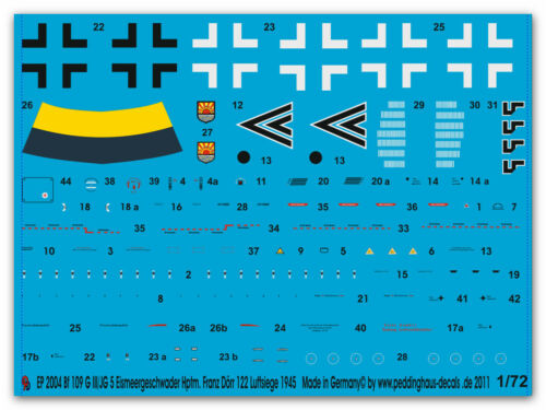 1//72 Decals füe eine Me 109 G  III//JG 5 Hptm Franz Dörr 2004
