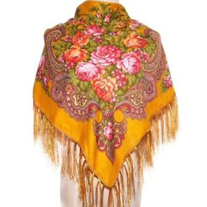 AUTHENTIQUE-Foulard-Chale-Russe-en-coton-couleur-Moutarde