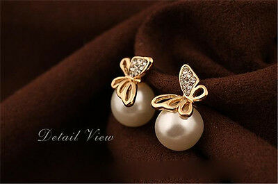 Elegant Crystal Gold Butterfly Pearl Ear Stud Earrings Earbob Jewelry Gift