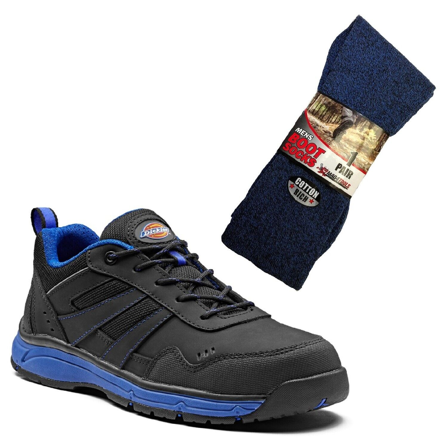 Dickies Emerson Trainer Scarpe Nero Safety & Royal blu & 1 paio di calze Stivale