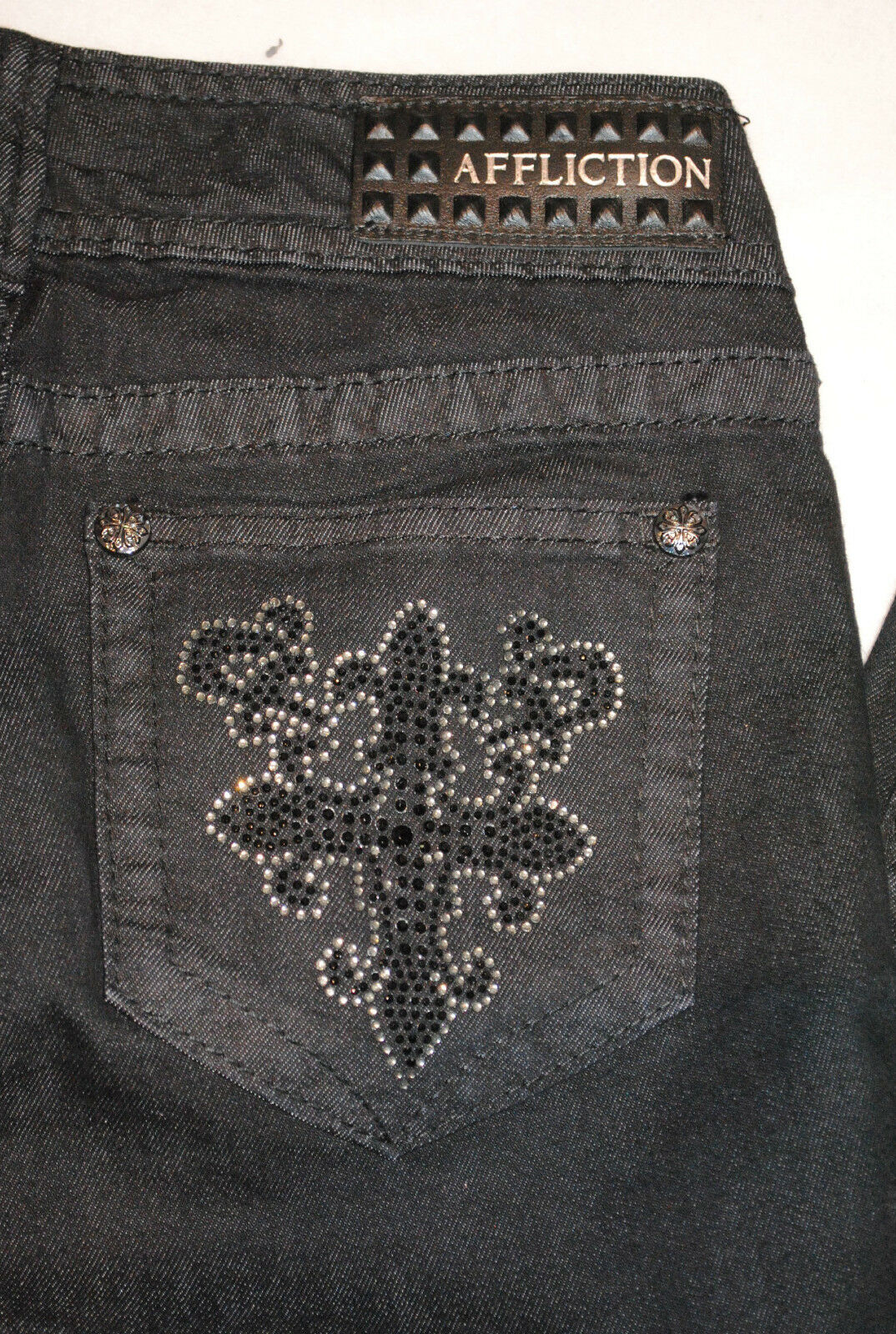 NWT AFFLICTION womens RAQUEL skinny CRYSTAL BLADE CROSS embellished JEANS 24