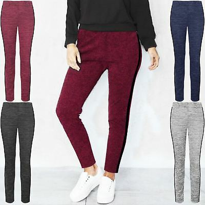 LADIES WOMENS TAPERED TROUSERS JERSEY PANTS SIDE STRIPE ELASTICATED WAIST PANTS