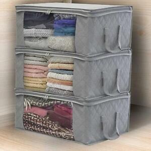Non-Woven-Kleidung-Aufbewahrungstasche-Organizer-Box-Klares-Fenster-Underbed-Bag
