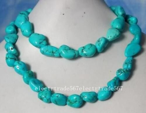 """Beautiful TURQUOISE NUGGET BEADS NECKLACE 35/"""""""