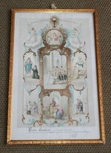 Chromo-Cadre-religieux-Souvenir-Bapteme-1905-Rully-Bourgogne-Louise-Foulon