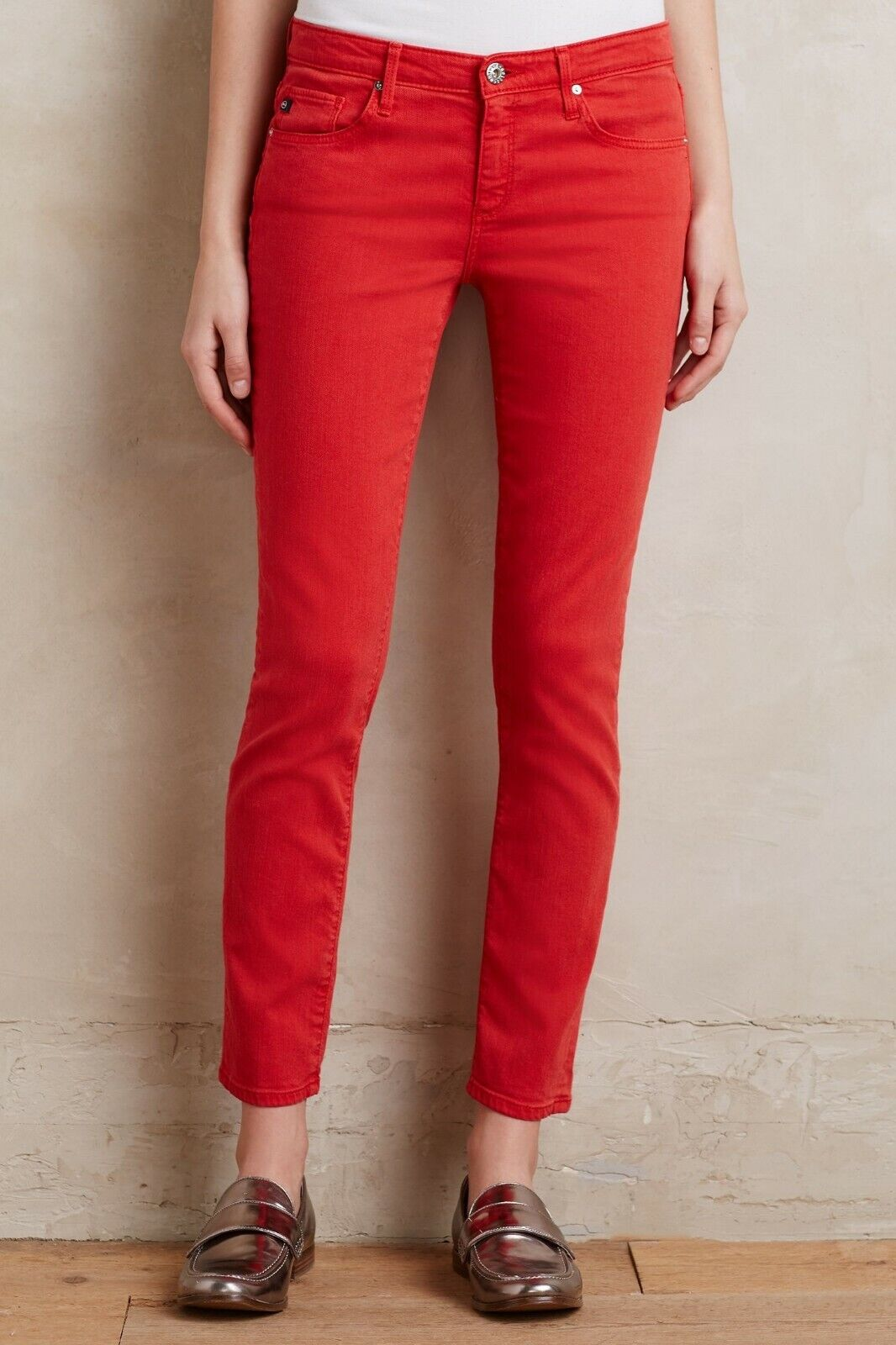 New AG Adriano goldschmied ANTHROPOLOGIE STEVIE Slim Straight Ankle JEANS Red 28