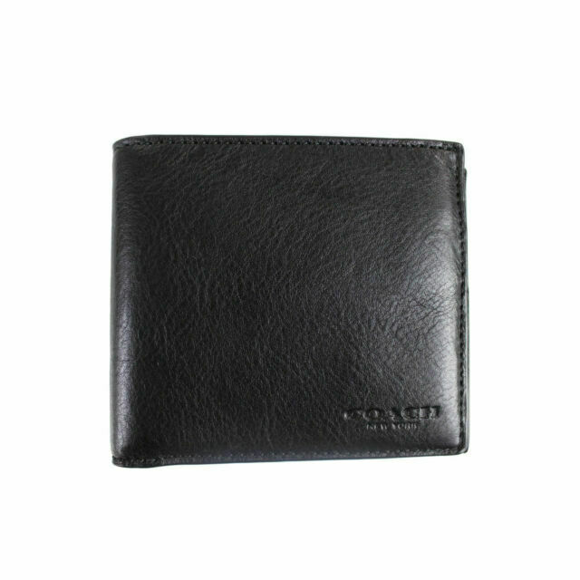 New Authentic Coach F75084 Men/'s Double Billfold Wallet Black Leather w Gift Box