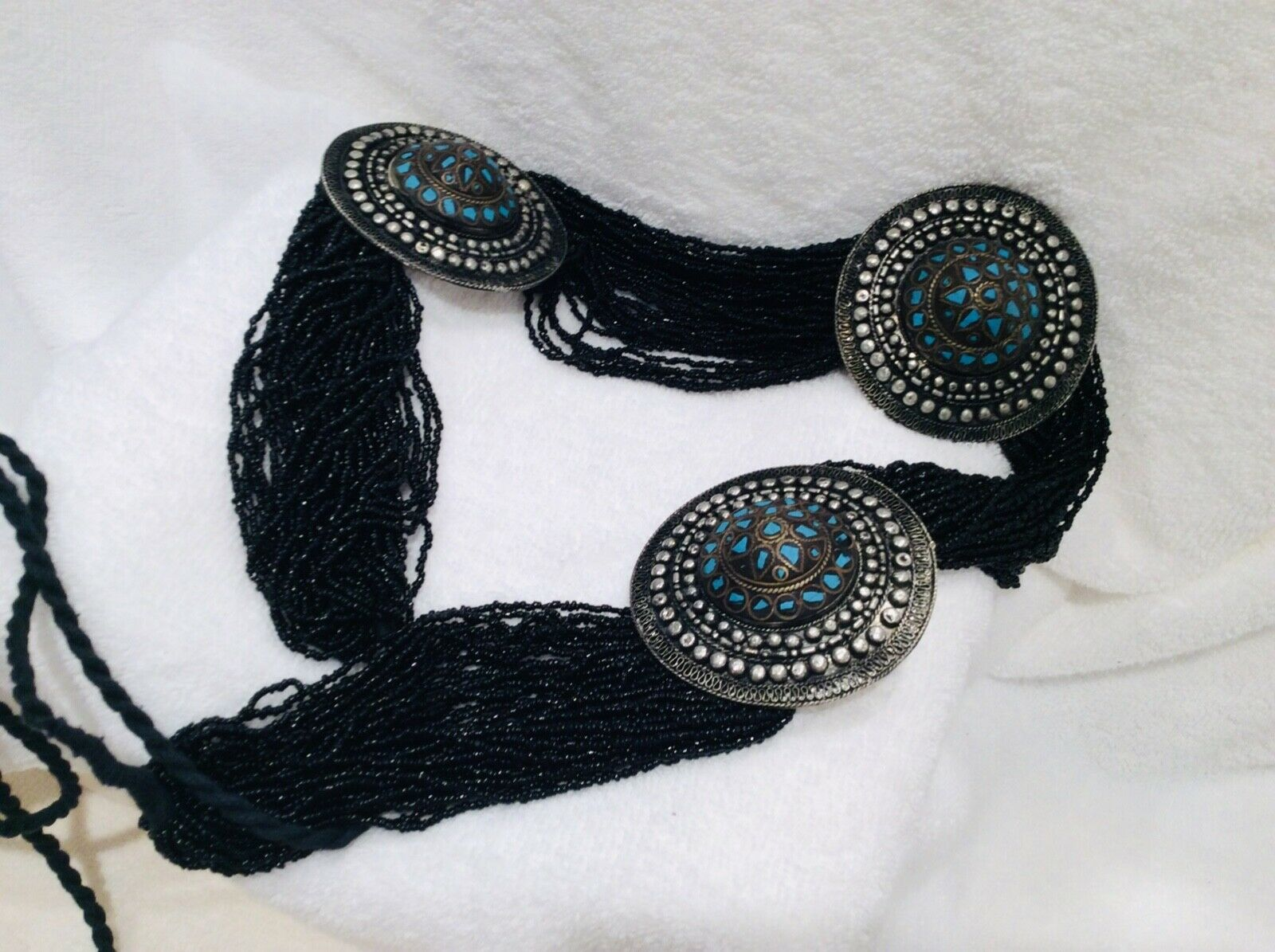 BLACK GLASS BEADED TURQUOISE SILVER ENGRAVED CONCHO MEDALLION BELT sz.small ties