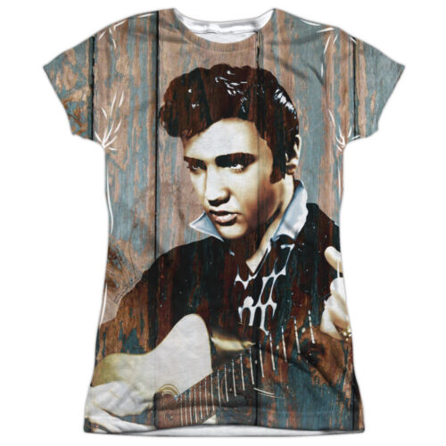 Elvis Presley WOODGRAIN 1-Sided Sublimated Big Print Poly Juniors T-Shirt