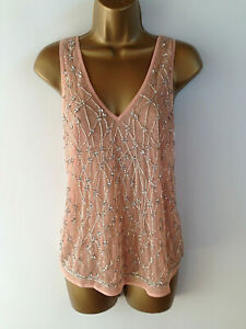 River-Island-Top-UK-Size-8-Peach-Tank-Top-Bead-Jewel-Embroidery-Womens-Summer