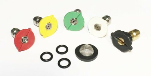 Pressure Washer Quick Connect Tip Nozzle Spray Kit Size 5 GPM W// Filter /& Orings