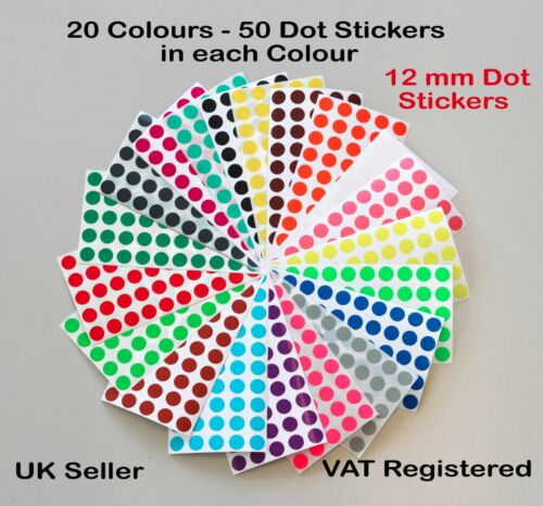 Pack of 1000-12mm Dot Circular Coloured Dot Stickers 20 Colours Premium Pack