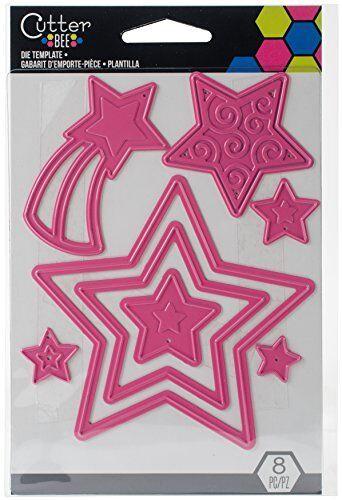 EK Success Stars Die Template, Metal, Pink, 14 x 9.5 x 0.1 cm