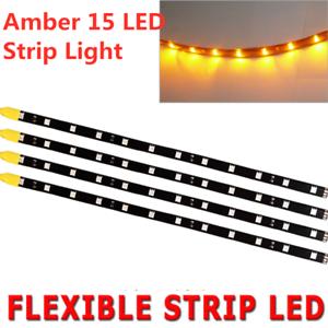 """Amber 4pcs 12/"""" Motors Trailer ATV LED Flexible Strip Light Tape Waterproof 12V"""