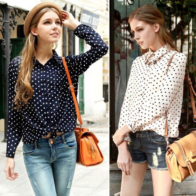 Fashion Women's Shirt Polka Dots Chiffon Vintage Top Blouse T-Shirt Long Sleeve