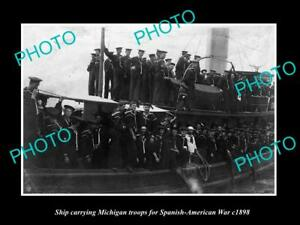 OLD-LARGE-HISTORIC-PHOTO-OF-MICHIGAN-TROOPS-FOR-THE-SPANISH-AMERICAN-WAR-c1898