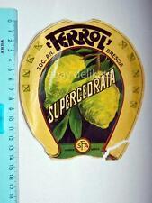 Vecchia etichetta old label vino wine Supercedrata Ferrol Brescia rotta