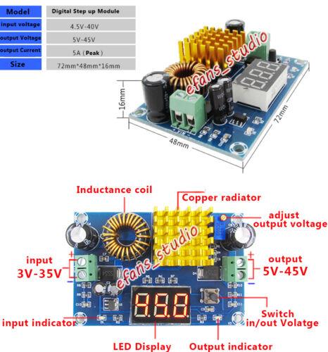 COURANT CONTINU-DC Boost Step Up Réglable Convertisseur 3V-35V à 5V-45V 6 V 9 V 12 V 24 V 36 V 5 A