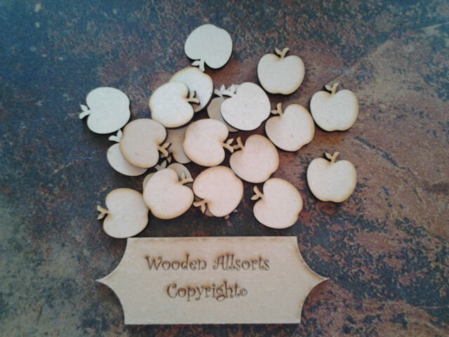 25x 3mm mdf wooden apple shapes 30mm(h)x20mm(w). Craft or embellishments