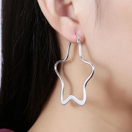 PROMOTION PRIX 925 Sterling Argent Pentagramme Femmes Fashion Boucles d/'oreilles Créoles YE151