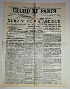 N986-La-Une-Du-Journal-L-039-echo-de-Paris-10-novembre-1918-Guillaume-II-a-abdique
